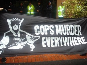 Anti-police protest banner