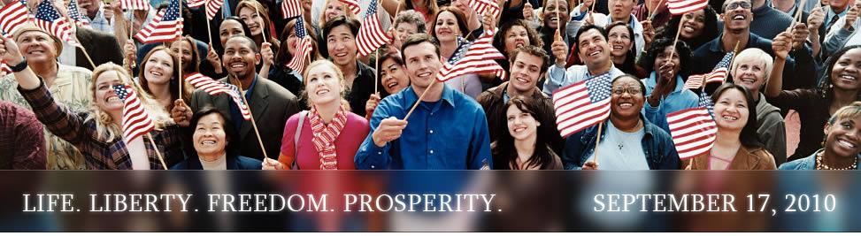 Flag-waving yahoos grin like idiots.
