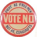 Anti-conscription badge from WWI