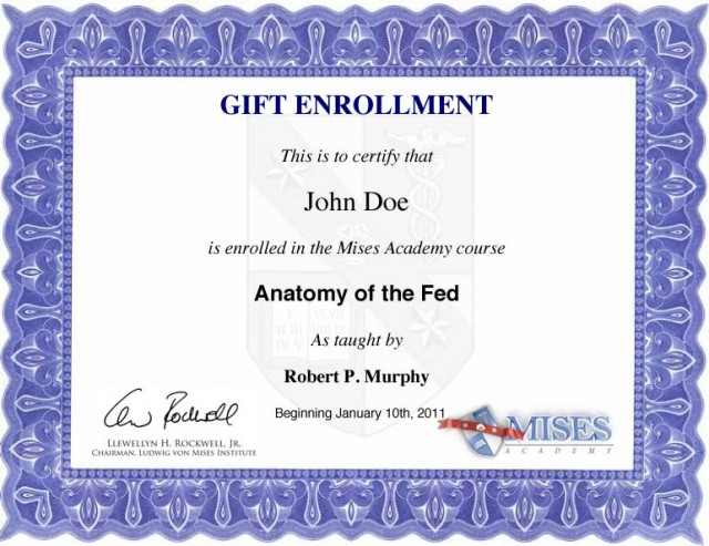 Gift Enrollment Certificate Sample - Anatomy of the Fed